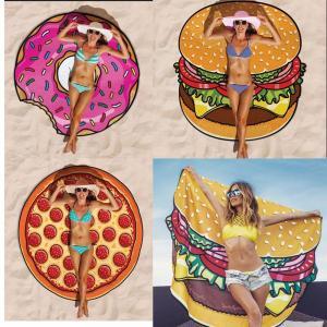 Quality Women Beach Cover Up Pareo Pizza Creative Shape Beach Mat Swimwear Cartoon Cloak mats Summer Saida De Praia for sale