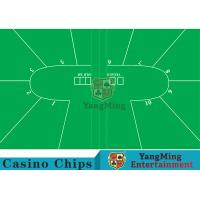 Quality Texas Holdem Standard Casino Table Layout Green With 100% Polyester Fabric for sale