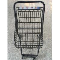 Gray Metal 2 - Tier Supermarket Basket Shopping Trolley Anti - Collision With 4