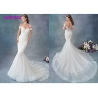 Quality Embroidered Lace / Tulle / English Net Mermaid Style Wedding Dress Detachable Cap Sleeve for sale