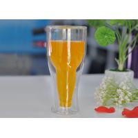 Quality 12 fl.oz 350ml Creative Double Wall Heat Isolated Glass Beer Tea Mug Cup for sale