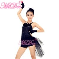 Black Swan Feather Neckline Jazz Dance Outfits With Back Side Suttle Velvet Shorts