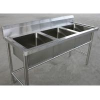 Quality Restaurant Three Tubs Stainless Steel Kitchen Sink Commercial 1800 x 600 x 850MM for sale