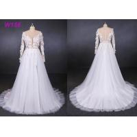 Quality High Fork Small Tail 3d Flowers Tulle Custom Wedding Dress Bride Gowns for sale