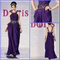 Quality Newest Special Design Ruffle Beaded Chiffon Evening Sequins Beaded Dresses (XZ-135) for sale