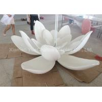 Quality Sunproof Lotus Flower Resin Garden Statues , Outdoor Fiberglass Statues Color Painted for sale