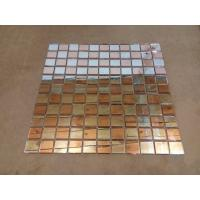 China Fiber Mesh Mirror Glass Mosaic Wall Tiles , Rose Gold Silver Glass Backsplash Tile on sale
