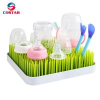 China Plastic Baby Bottle Drying Rack Square Large Countertop Drainer Mat and Dryer Stand for Infant Dishes Bottles and Access on sale