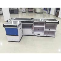 Quality Full Metal Supermarket Conveyor Belt Checkout Counter Cashier Currency Desk Checkout Counter for sale