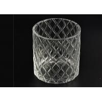 Quality Wax Cylinder Frosted Glass Candle Holders For Wedding , Glass Candle Cups for sale