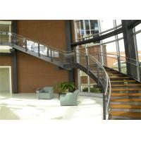 Quality Building Interior Curved Stairs Double U Channel Stringer With Tempered Glass Railing for sale