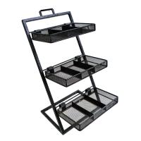 Quality Custom Convenience Store Wire Metal Display stand Rack Floor Standing with three shelving for sale