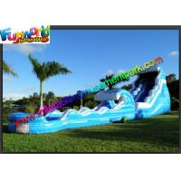 Quality 0.55mm PVC Tarpaulin Blue Commercial Grade Inflatable Water Slide for Adult for sale