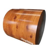 China Wood Grain PET Film Prepainted Galvalume Steel Coil For Interior Decoration on sale