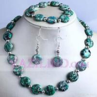 China Green Turquoise Beaded Necklace Set on sale