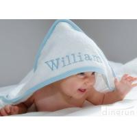 Durable White Hooded Baby Towels Embroidered For Family 350gsm