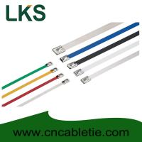 Quality 4.6*150mm 316/304/201 grade Ball-lock Epoxy-polyester coated stainless steel cable tie for sale