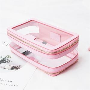 China Leather Trimmed PVC Cosmetic Bag Double Zippers on sale