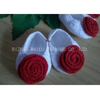 China Red Rose Free Crochet Baby Shoes Comfortable White Body 100% Milk Cotton on sale
