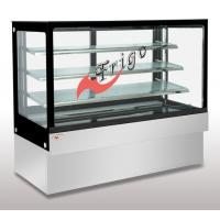 Quality Square Glass Cake Display Case Orchid LED Light Custom Refrigerated Display Cases for sale