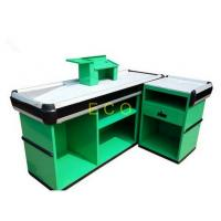 Quality Custom Green Cashier Checkout Display Counter For Retail Store / Supermarket for sale