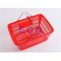 Quality Double Handles Plastic Supermarket Hand Shopping Basket / Portable Handheld Basket for sale