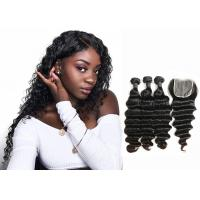 Quality Double Sewed Weft 8A Virgin Brazilian Hair Extensions Deep Wave With Frontal for sale