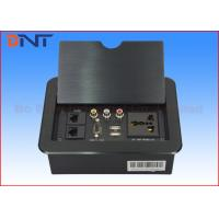 Quality Black Tabletop Hidden Manual Flip Up Power Outlet Multi Functional With Panel Cover for sale