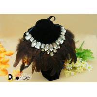 Quality Multi - color Diamante Chunky Feather Ladies Handmade Beaded Necklaces For Party for sale