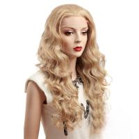 Quality Blonde Deep Wave Synthetic Front Lace Wigs For White Women for sale