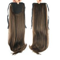 Quality Promotion  Heat Resistant Fiber  Darker Brown With  Anburn Brown  Natural Wave Pony Tail Hair Piece for sale