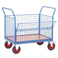 Quality 2 Handles Light Blue Wire Mesh Cart With Swivel Castors For Factory for sale
