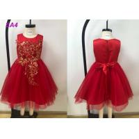 Quality Lace Patterns Beading Princess Flower Girl Dresses / Short Tail Red Flower Girl Dresses for sale