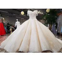 China Champagne Off Shoulder Wedding Gown , Big Ball Gown Dresses Beaded Tassels on sale