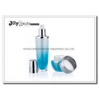 Quality PMMA Gradient Blue Empty Makeup Containers For Lotion with Lid Bright Silver Plating for sale