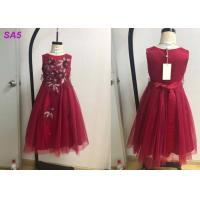Quality Beautiful Lace Childrens Flower Girl Dresses For Birthday Party Full Length O Neck for sale