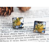 Quality Van Gogh's Guess Handcrafted Black Square Dry Flower 925 Silver Stud Earrings For Sale for sale