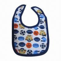 Quality Customized baby bib, printed cotton with logo all over, BPA-free, waterproof for sale