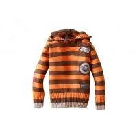 Quality Orange And Brown Stripes Hooded lovely Anti - Piling fabric dyeing hand knitted baby wear for sale