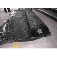 China Warp Knitted Polyester Geogrid , High Strength Geogrid For Road Construction on sale