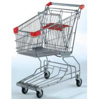 Quality Custom Rolling Shopping Basket Wire Cart On Wheels Metal Frame Asia Style for sale