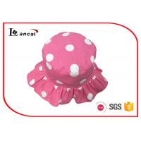 Quality Girls pink dot printed bucket hat , 100% cotton twill reversible hat for sale
