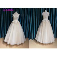 Quality Champange Off The Shoulder Princess Wedding Dress With Tulle Sweep Train Zipper for sale