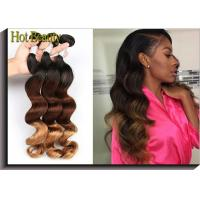Quality Fashion 3 Tone Ombre Curly Human Hair Weave / Peruvian Body Wave 3 Bundles for sale
