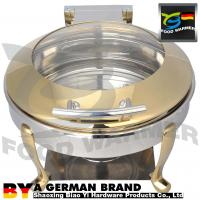 China Food Grade Metal Chafing Dish , Round Roll Top Chafer Durable For Banquet Service on sale