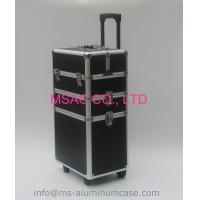 Three Layers Aluminum Makeup Trolley Case With Black Color