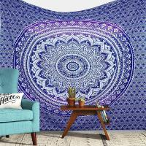 China Bohemian Tapestry Elephant Star Mandala Tapestry Blue Tie Dye Star Design Indian Bedspread Twin Tapestry Hippie Wall Dec on sale