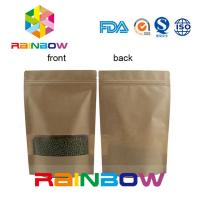 Quality Flat Bottom Brown Customized Paper Bags / Craft Paper Bag With Zipper for sale