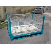 Buy Gold Zinc Plated IBC Metal Cage Box Foldable Pallet Container 1000 - 2000kgs Weight Capacity at wholesale prices