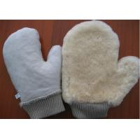 Quality Thumb Design Sheepskin Car Wash Mitt With Non Scratching Fabric Upside for sale